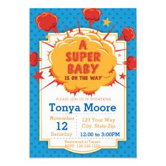 Blue Super Baby Shower Invitation