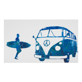 Blue Surf bus with Surfer Boy Poster