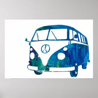 Blue surfbus poster