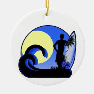 Blue surfer at sunset ceramic ornament