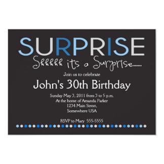 "Blue Surprise Birthday Invitation 5"" X 7"" Invitation Card"