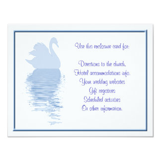 Blue Swan Enclosure Card 11 Cm X 14 Cm Invitation Card