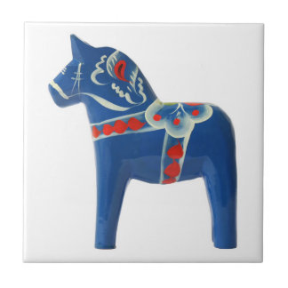 Blue Swedish Dala Horse Small Square Tile