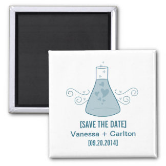 Blue Sweet Chemistry Save the Date Magnet