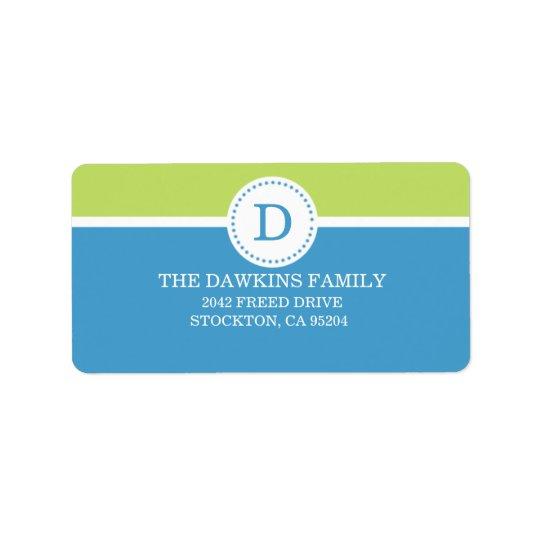 Blue Sweet Monogram Custom Monogrammed Family Address Label