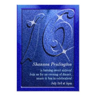 Blue Sweet Sixteen Birthday Party Invitations