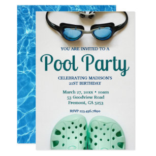 Blue Swimming Goggles Birthday Pool Party Invitation