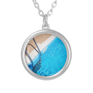 Blue swimming pool with ladder silver plated necklace