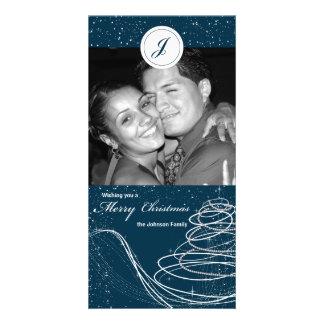 Blue Swirl and Stars Xmas Tree Holiday Photocard Photo Card