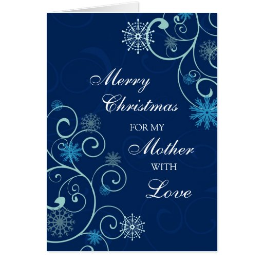 Blue Swirl Mother Merry Christmas Card