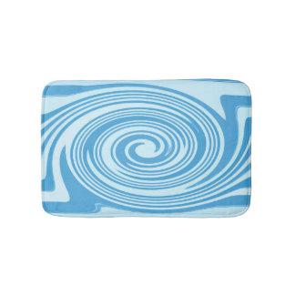 Blue swirl pattern bath mats