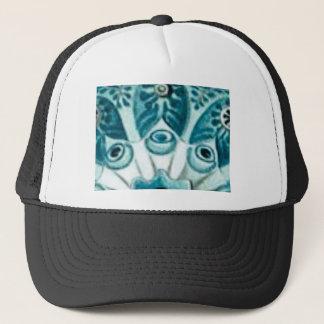 blue swirl pattern trucker hat