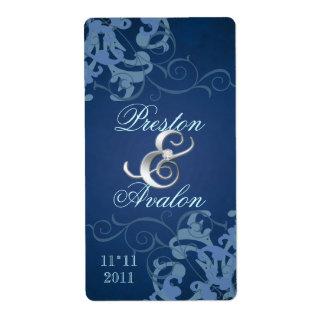 Blue Swirl Silver Jewelled Wedding Wine Label Shipping Label