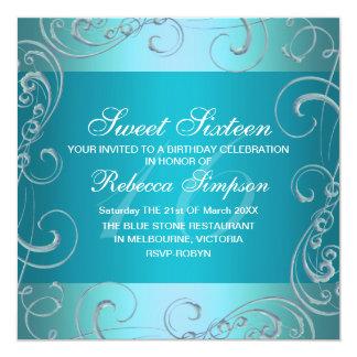 Blue Swirl Sweet Sixteen Birthday Invitation