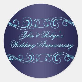 Blue Swirl Wedding Anniversary Envelope Sticker