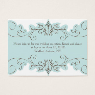 Blue Swirl Wedding Reception Cards