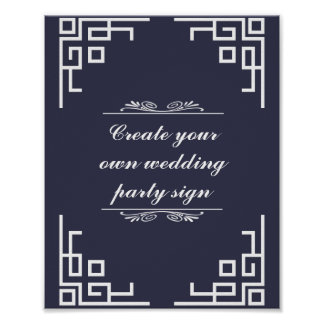 Blue Swirl White Border Wedding Party Sign