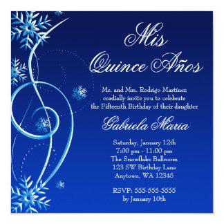 Blue Swirl Winter Wonderland Quinceanera Card