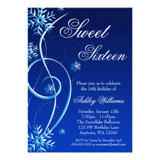 Blue Swirl Winter Wonderland Sweet 16 Personalized Invites