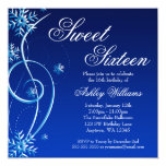 Blue Swirl Winter Wonderland Sweet 16 Personalized Invite