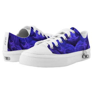 Blue Swirling Clouds Low Top Canvas Shoes