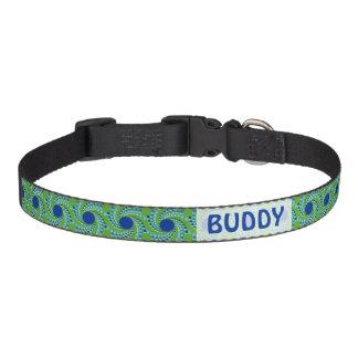 Blue Swirling Dots (Choose Background Color) Dog Collar