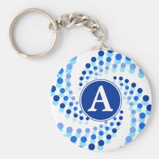 Blue Swirling Dots (Choose Background Color) Key Ring