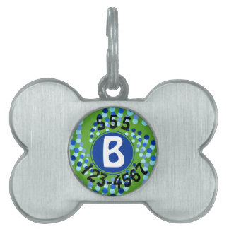 Blue Swirling Dots (Choose Background Color) Pet Tag