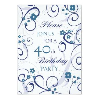 Blue Swirls 40th Birthday Party Invitation Card