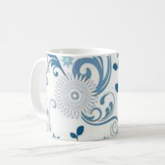Blue Swirls and Flowers Coffee Mug