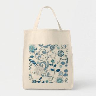 Blue Swirls anf Flowers Tote Bag