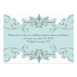 Blue Swirls Elegant Wedding Reception Cards Pack Of Chubby Business Cards