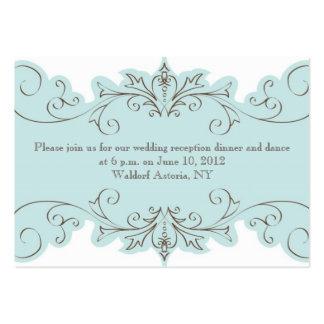 Blue Swirls Elegant Wedding Reception Cards Business Cards