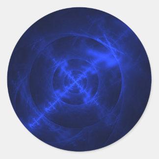 Blue Swirls fractal design Classic Round Sticker