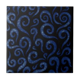 Blue Swirls Pattern Tile