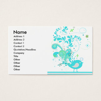 blue swirly bird vector business card