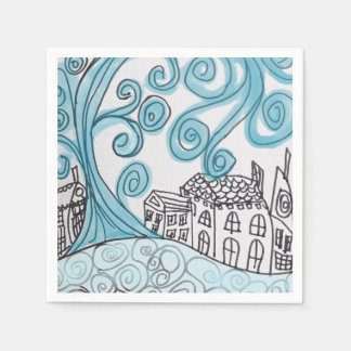 Blue Swirly Cocktail Napkins Disposable Napkins