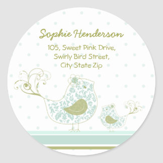 Blue Swirly Mum & Baby Bird Address Label Sticker