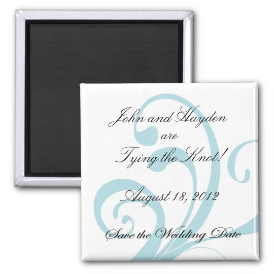 Blue Swirly Save the Wedding Date Magnet