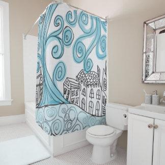 Blue Swirly Shower Curtain