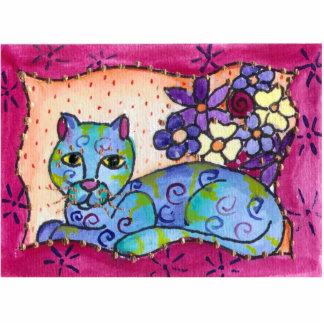 Blue Tabby Cat Standing Photo Sculpture