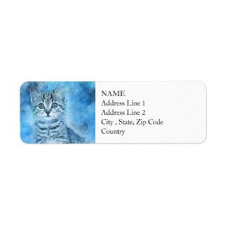 Blue Tabby Kitten | Abstract | Watercolor Return Address Label