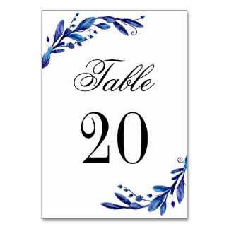 Blue table number. Winter wedding. Navy table Card
