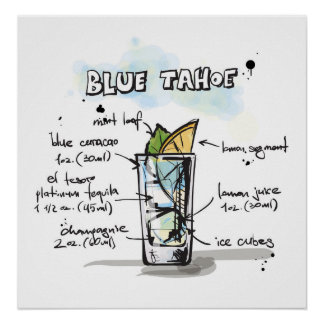 Blue Tahoe Drink Recipe Design Poster
