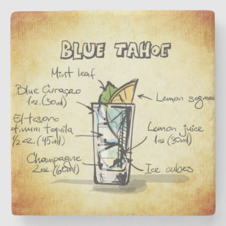 Blue Tahoe Drink Recipe Stone Coaster