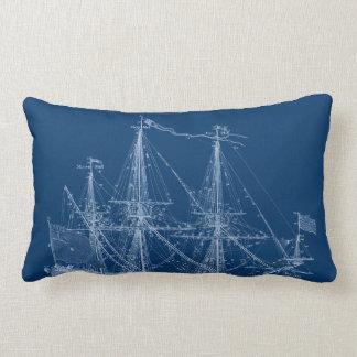 Blue Tall Sailing Ship Blueprint Pillow