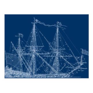 Blue Tall Sailing Ship Blueprint Postcard