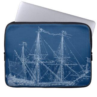 Blue Tall Sailing Ship Blueprint Sleeve