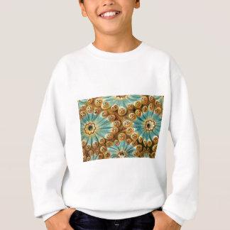 blue tan design of shapes sweatshirt