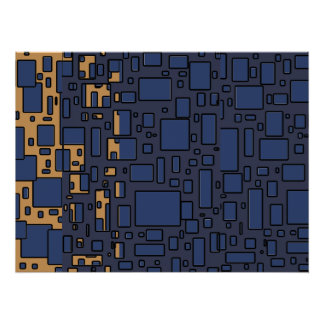 Blue tan geometric abstract poster